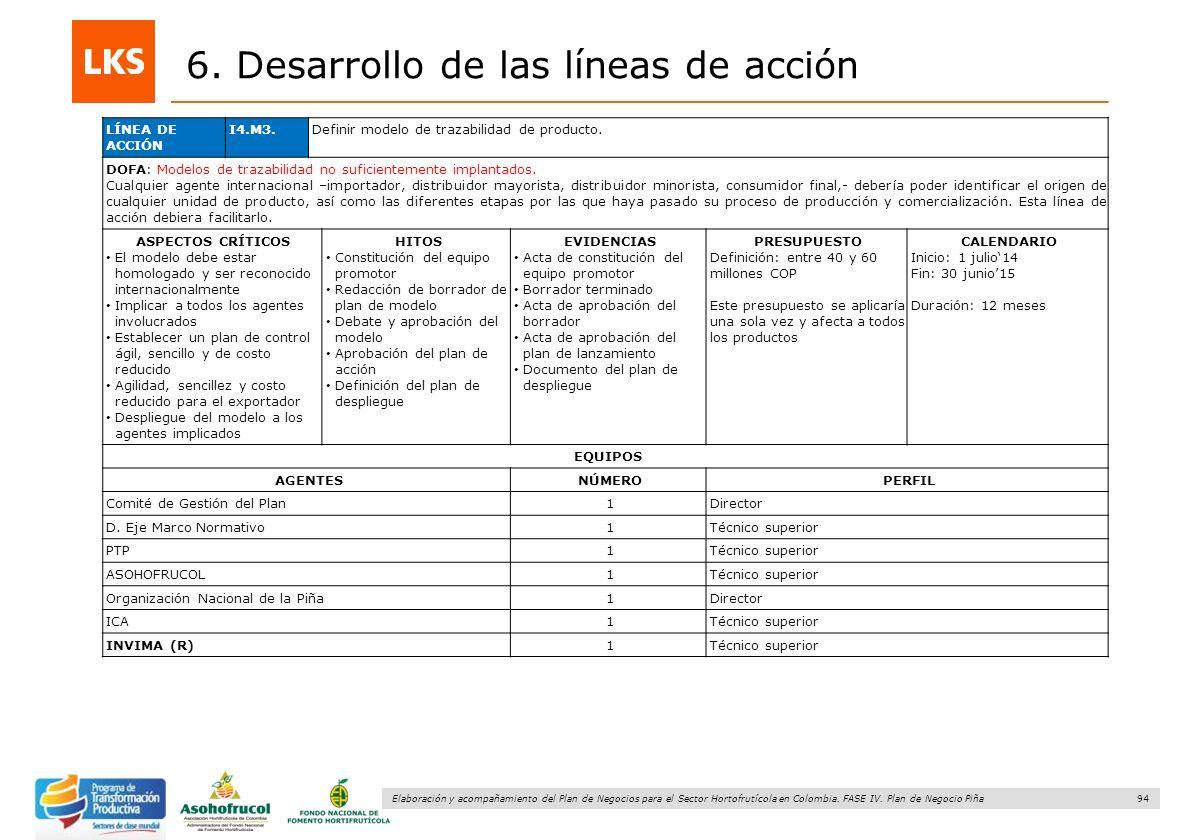 94 Elaboración y acompañamiento del Plan de Negocios para el Sector Hortofrutícola en Colombia. FASE IV. Plan de Negocio Piña 6. Desarrollo de las lín