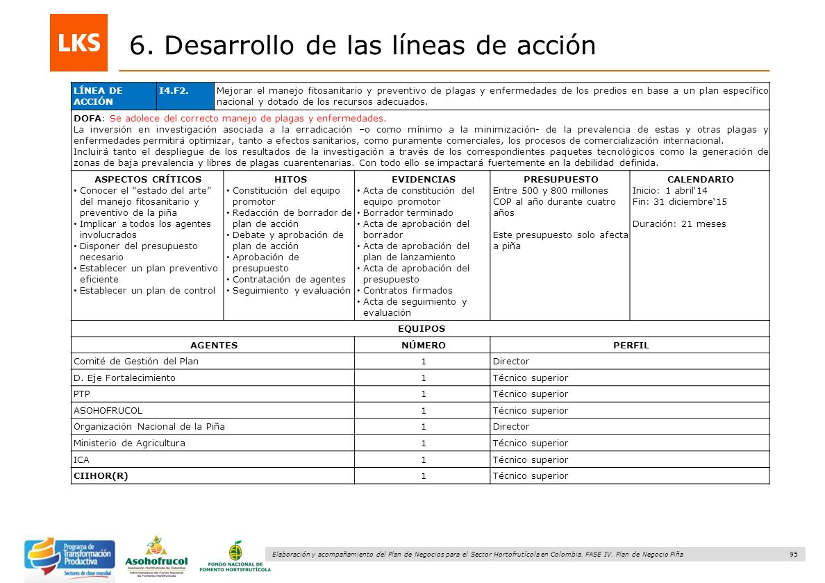 95 Elaboración y acompañamiento del Plan de Negocios para el Sector Hortofrutícola en Colombia. FASE IV. Plan de Negocio Piña 6. Desarrollo de las lín