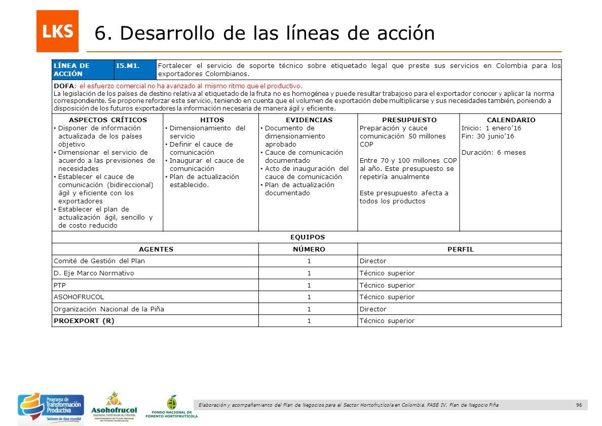 96 Elaboración y acompañamiento del Plan de Negocios para el Sector Hortofrutícola en Colombia. FASE IV. Plan de Negocio Piña 6. Desarrollo de las lín