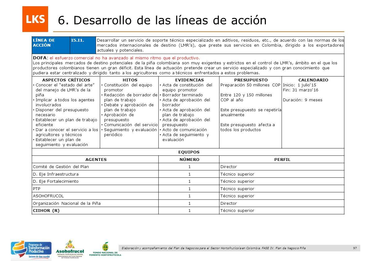 97 Elaboración y acompañamiento del Plan de Negocios para el Sector Hortofrutícola en Colombia. FASE IV. Plan de Negocio Piña 6. Desarrollo de las lín