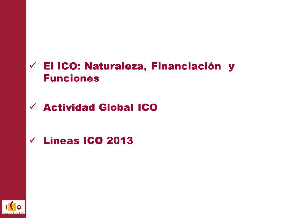El ICO: Naturaleza, Financiación y Funciones Actividad Global ICO Líneas ICO 2013