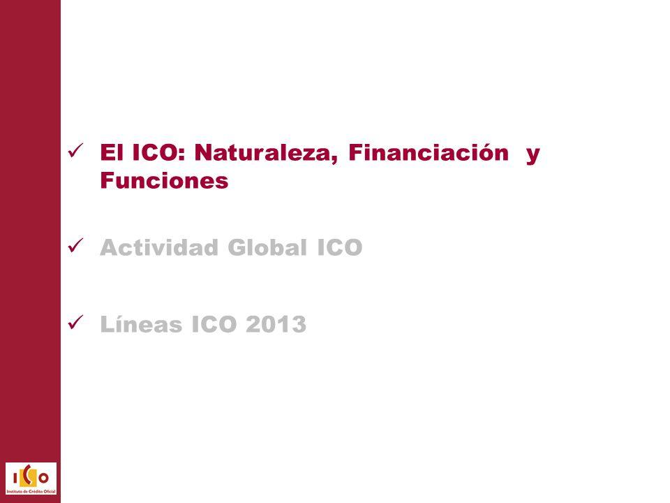 El ICO es una Entidad Pública Empresarial que está adscrita al Ministerio de Economía y Competitividad a través de la Secretaría de Estado de Economía y Apoyo a la Empresa.