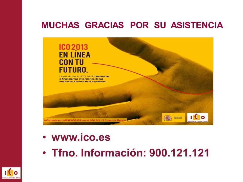 MUCHAS GRACIAS POR SU ASISTENCIA www.ico.es Tfno. Información: 900.121.121