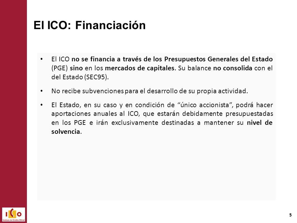 ICO: Funciones Banco Público Líneas de mediación Financiación directa Son fines del ICO sostener y promover actividades económicas que contribuyan al crecimiento y a la mejora de la distribución de la riqueza nacional.