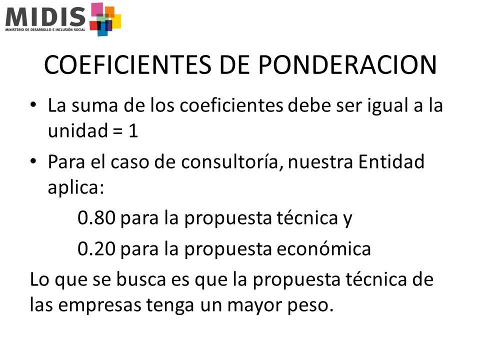 COEFICIENTES DE PONDERACION La suma de los coeficientes debe ser igual a la unidad = 1 Para el caso de consultoría, nuestra Entidad aplica: 0.80 para la propuesta técnica y 0.20 para la propuesta económica Lo que se busca es que la propuesta técnica de las empresas tenga un mayor peso.