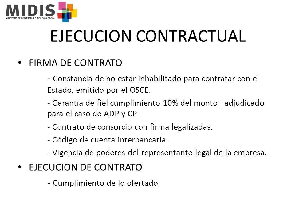 EJECUCION CONTRACTUAL FIRMA DE CONTRATO - Constancia de no estar inhabilitado para contratar con el Estado, emitido por el OSCE.