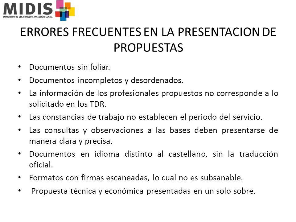 ERRORES FRECUENTES EN LA PRESENTACION DE PROPUESTAS Documentos sin foliar.