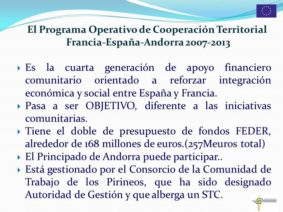 2 El Programa Operativo de Cooperación Territorial Francia-España-Andorra 2007-2013 Es la cuarta generación de apoyo financiero comunitario orientado a reforzar integración económica y social entre España y Francia.