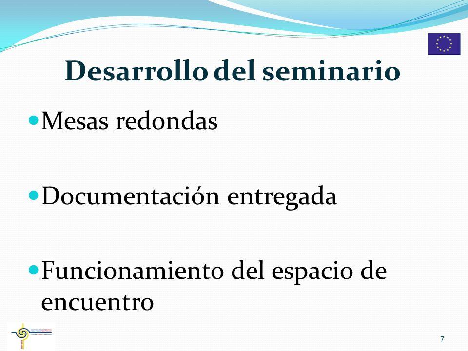 Desarrollo del seminario Mesas redondas Documentación entregada Funcionamiento del espacio de encuentro 7