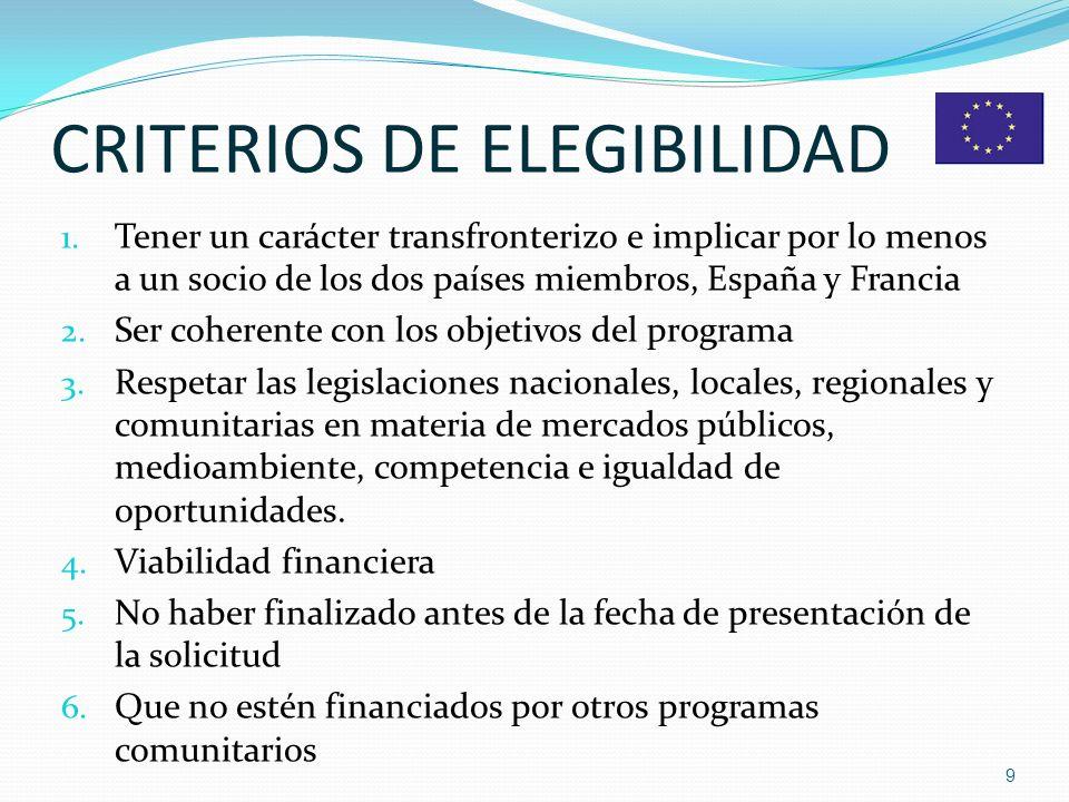 CRITERIOS DE ELEGIBILIDAD 1.