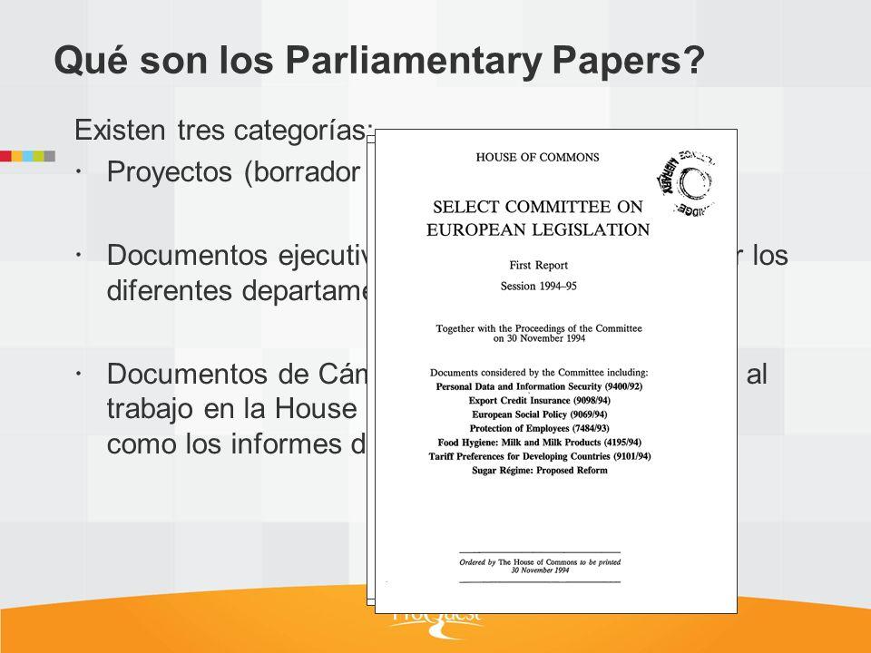 Existen tres categorías: Proyectos (borrador de ley). Documentos ejecutivos (documentos creados por los diferentes departamentos del gobierno). Docume