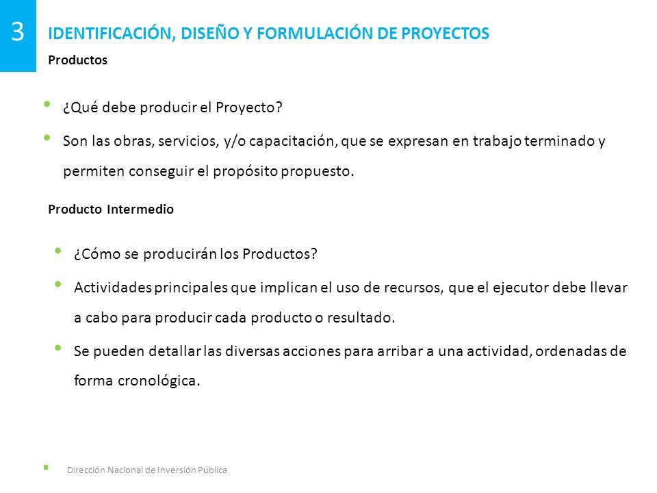 ¿Qué debe producir el Proyecto? Son las obras, servicios, y/o capacitación, que se expresan en trabajo terminado y permiten conseguir el propósito pro
