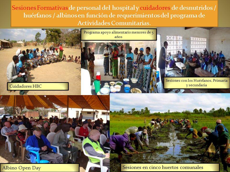 Sesiones Formativas de personal del hospital y cuidadores de desnutridos / huérfanos / albinos en función de requerimientos del programa de Actividades Comunitarias.