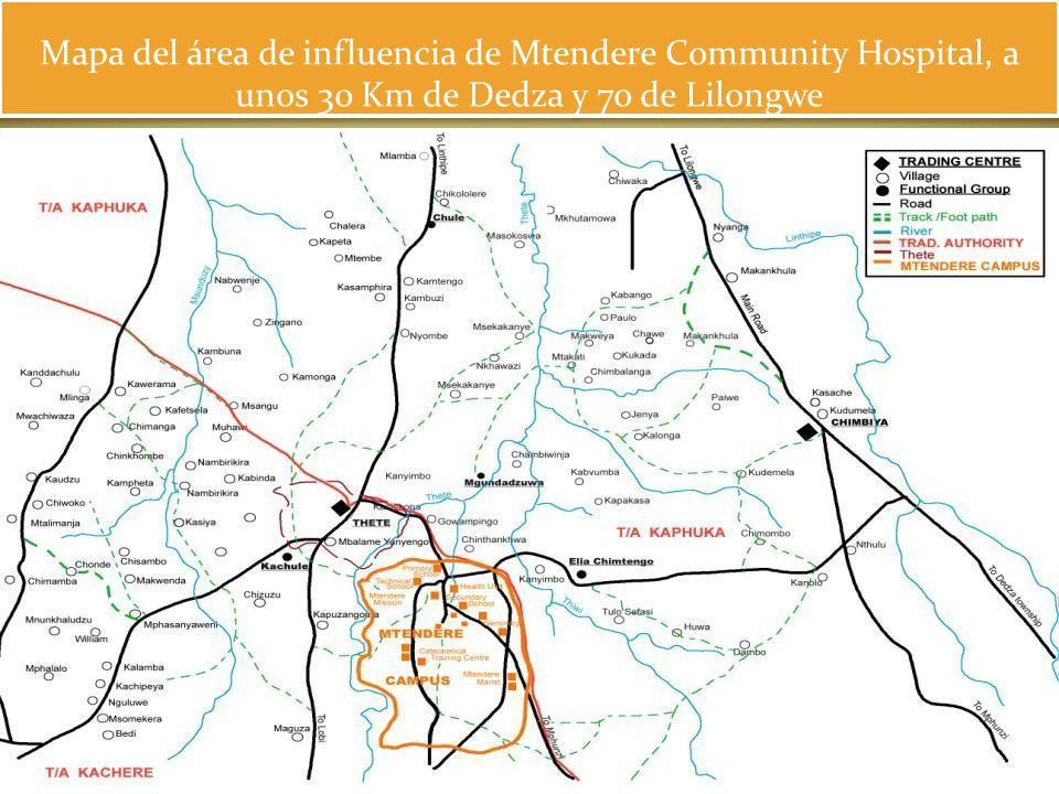Mapa del área de influencia de Mtendere Community Hospital, a unos 30 Km de Dedza y 70 de Lilongwe