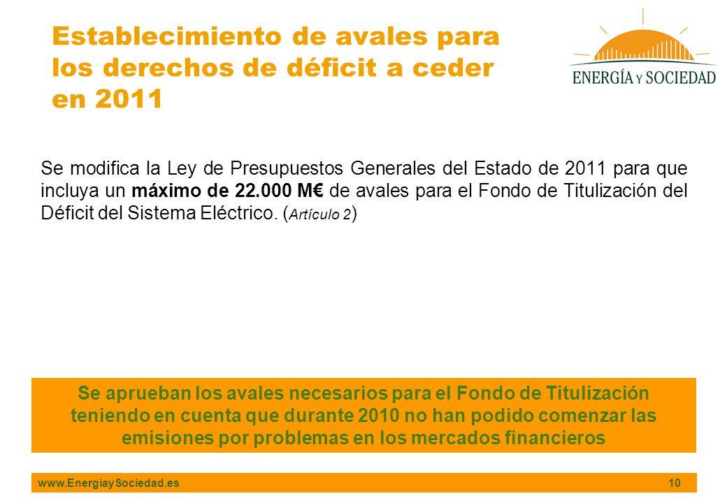 www.EnergíaySociedad.es 10 Se modifica la Ley de Presupuestos Generales del Estado de 2011 para que incluya un máximo de 22.000 M de avales para el Fondo de Titulización del Déficit del Sistema Eléctrico.