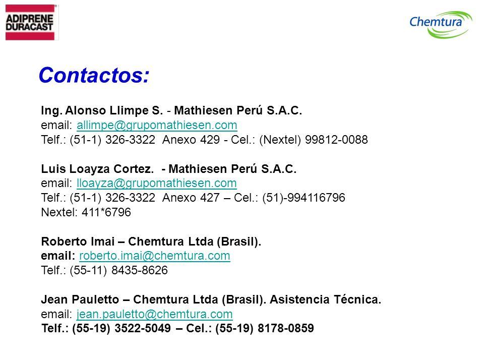 Ing. Alonso Llimpe S. - Mathiesen Perú S.A.C. email: allimpe@grupomathiesen.comallimpe@grupomathiesen.com Telf.: (51-1) 326-3322 Anexo 429 - Cel.: (Ne