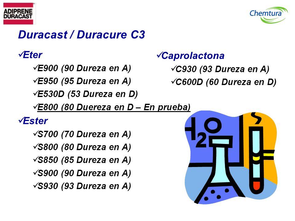 Duracast / Duracure C3 Eter E900 (90 Dureza en A) E950 (95 Dureza en A) E530D (53 Dureza en D) E800 (80 Duereza en D – En prueba) Ester S700 (70 Durez