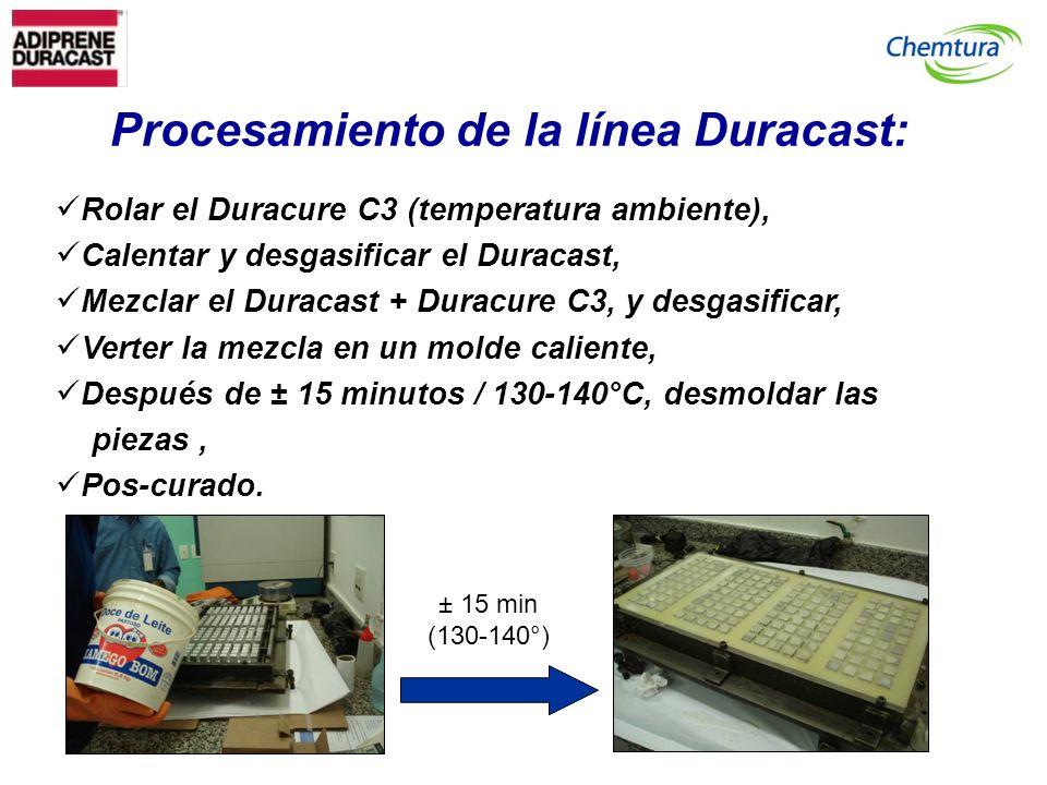 Procesamiento de la línea Duracast: Rolar el Duracure C3 (temperatura ambiente), Calentar y desgasificar el Duracast, Mezclar el Duracast + Duracure C3, y desgasificar, Verter la mezcla en un molde caliente, Después de ± 15 minutos / 130-140°C, desmoldar las piezas, Pos-curado.