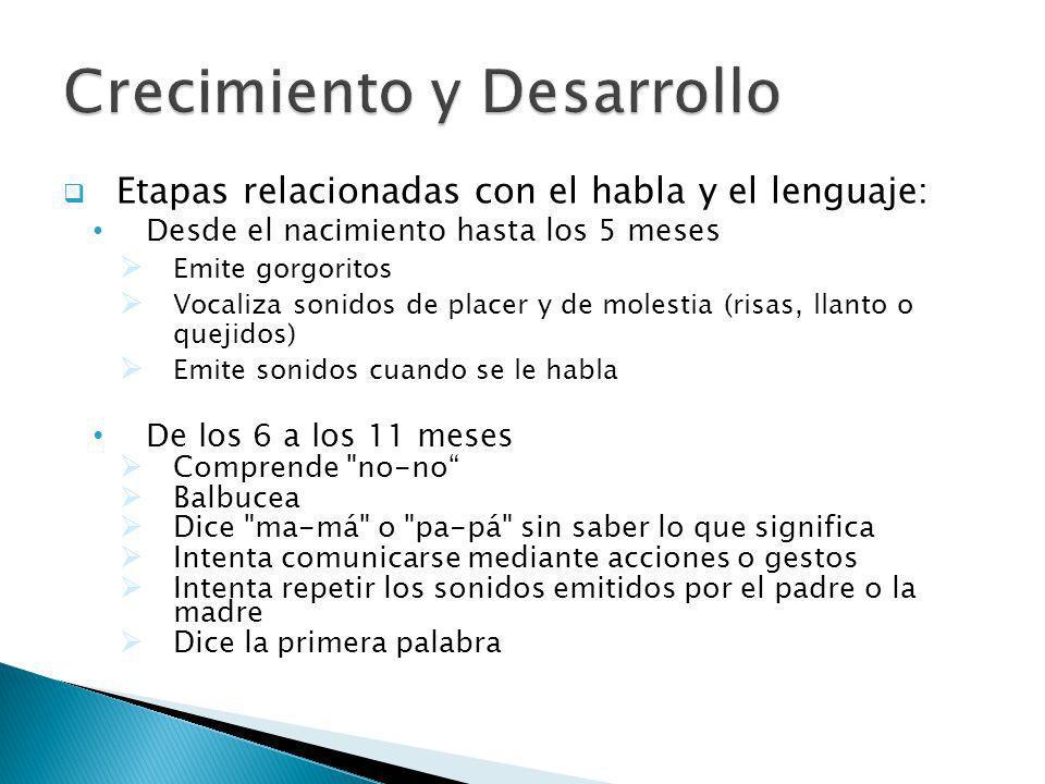 Etapas relacionadas con el habla y el lenguaje: Desde el nacimiento hasta los 5 meses Emite gorgoritos Vocaliza sonidos de placer y de molestia (risas