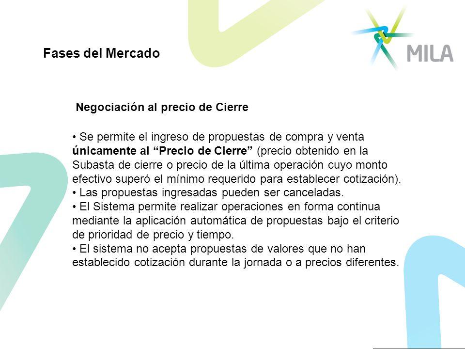 Negociación al precio de Cierre Se permite el ingreso de propuestas de compra y venta únicamente al Precio de Cierre (precio obtenido en la Subasta de