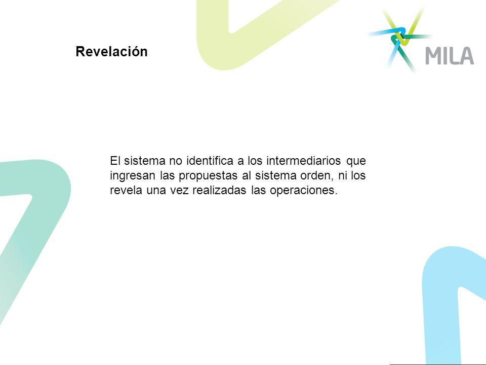 Revelación El sistema no identifica a los intermediarios que ingresan las propuestas al sistema orden, ni los revela una vez realizadas las operacione
