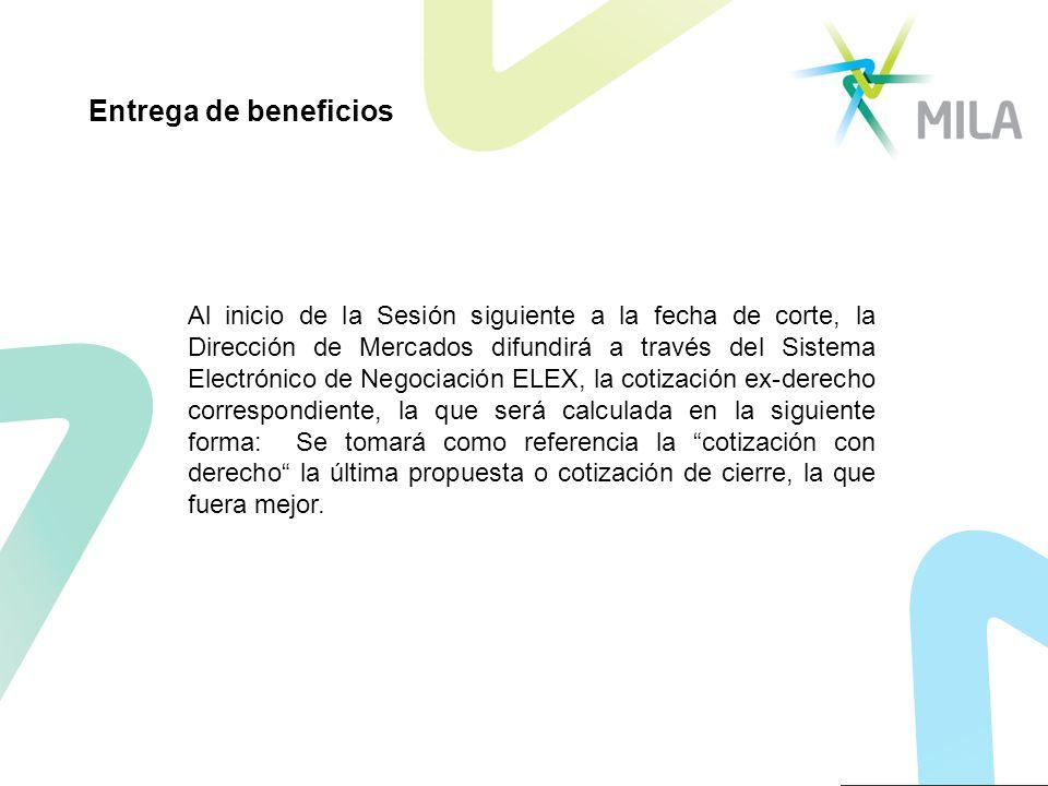 Al inicio de la Sesión siguiente a la fecha de corte, la Dirección de Mercados difundirá a través del Sistema Electrónico de Negociación ELEX, la coti