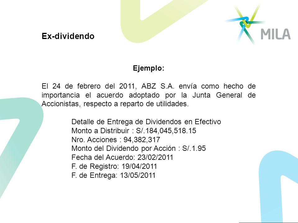 Ejemplo: El 24 de febrero del 2011, ABZ S.A. envía como hecho de importancia el acuerdo adoptado por la Junta General de Accionistas, respecto a repar