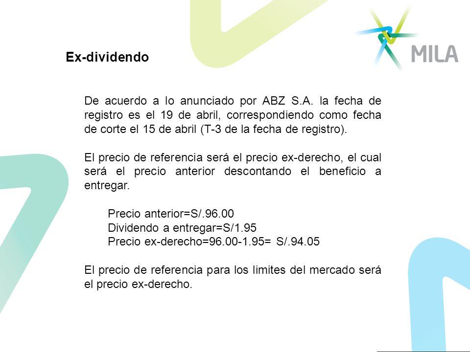 De acuerdo a lo anunciado por ABZ S.A. la fecha de registro es el 19 de abril, correspondiendo como fecha de corte el 15 de abril (T-3 de la fecha de