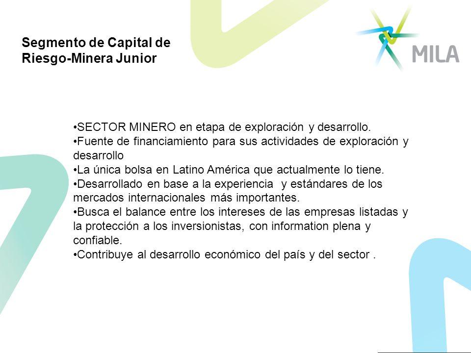 Segmento de Capital de Riesgo-Minera Junior SECTOR MINERO en etapa de exploración y desarrollo. Fuente de financiamiento para sus actividades de explo