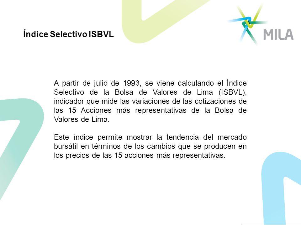 A partir de julio de 1993, se viene calculando el Índice Selectivo de la Bolsa de Valores de Lima (ISBVL), indicador que mide las variaciones de las cotizaciones de las 15 Acciones más representativas de la Bolsa de Valores de Lima.