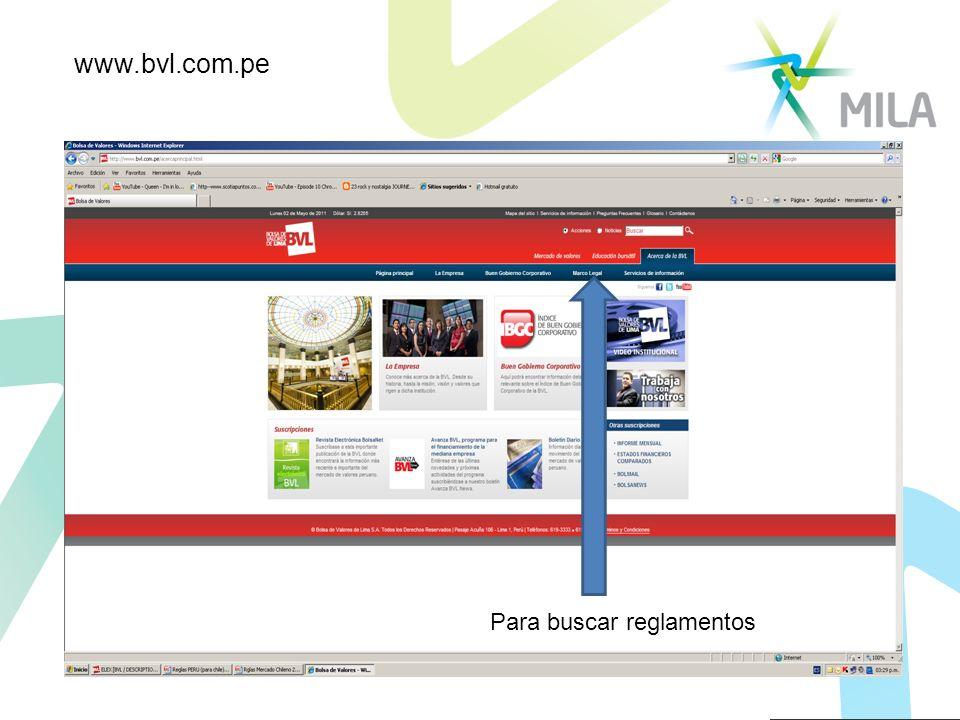 Para buscar reglamentos www.bvl.com.pe