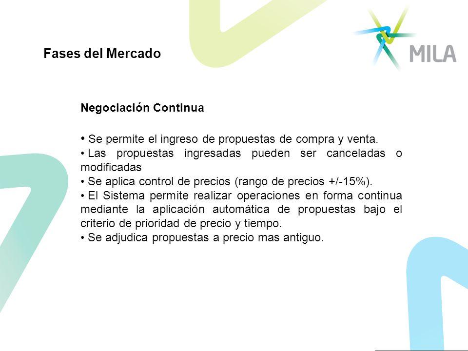 Negociación Continua Se permite el ingreso de propuestas de compra y venta. Las propuestas ingresadas pueden ser canceladas o modificadas Se aplica co