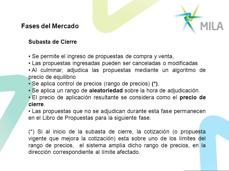 Subasta de Cierre Se permite el ingreso de propuestas de compra y venta, Las propuestas ingresadas pueden ser canceladas o modificadas Al culminar, ad