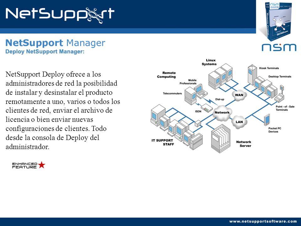NetSupport Deploy ofrece a los administradores de red la posibilidad de instalar y desinstalar el producto remotamente a uno, varios o todos los clien