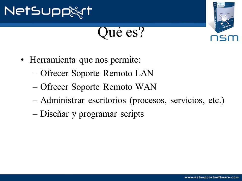 Qué es? Herramienta que nos permite: –Ofrecer Soporte Remoto LAN –Ofrecer Soporte Remoto WAN –Administrar escritorios (procesos, servicios, etc.) –Dis