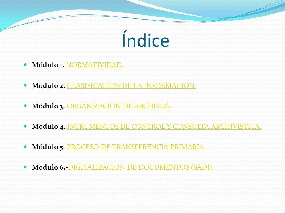 Índice Módulo 1. NORMATIVIDAD.NORMATIVIDAD. Módulo 2. CLASIFICACION DE LA INFORMACION.CLASIFICACION DE LA INFORMACION. Módulo 3. ORGANIZACIÓN DE ARCHI