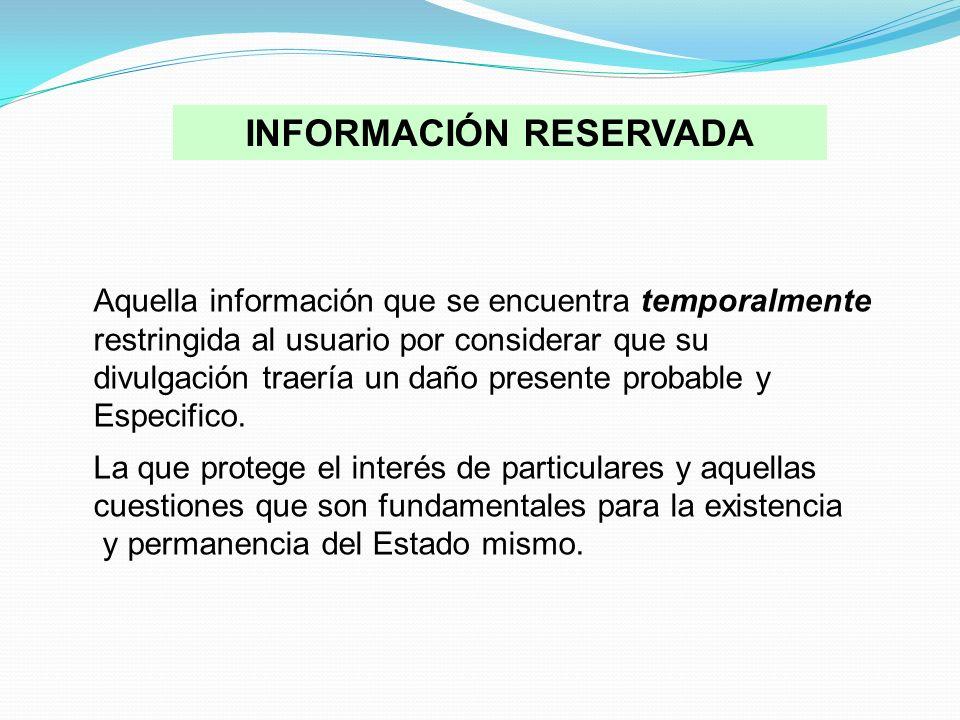 Aquella información que se encuentra temporalmente restringida al usuario por considerar que su divulgación traería un daño presente probable y Especi