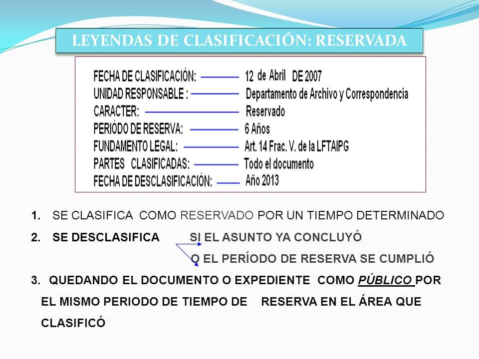 LEYENDAS DE CLASIFICACIÓN: RESERVADA 1. SE CLASIFICA COMO RESERVADO POR UN TIEMPO DETERMINADO 2. SE DESCLASIFICA SI EL ASUNTO YA CONCLUYÓ O EL PERÍODO