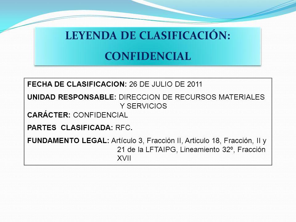 LEYENDA DE CLASIFICACIÓN: CONFIDENCIAL LEYENDA DE CLASIFICACIÓN: CONFIDENCIAL FECHA DE CLASIFICACION: 26 DE JULIO DE 2011 UNIDAD RESPONSABLE: DIRECCIO