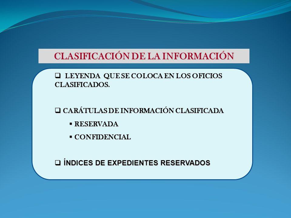 CLASIFICACIÓN DE LA INFORMACIÓN LEYENDA QUE SE COLOCA EN LOS OFICIOS CLASIFICADOS. LEYENDA QUE SE COLOCA EN LOS OFICIOS CLASIFICADOS. CARÁTULAS DE INF