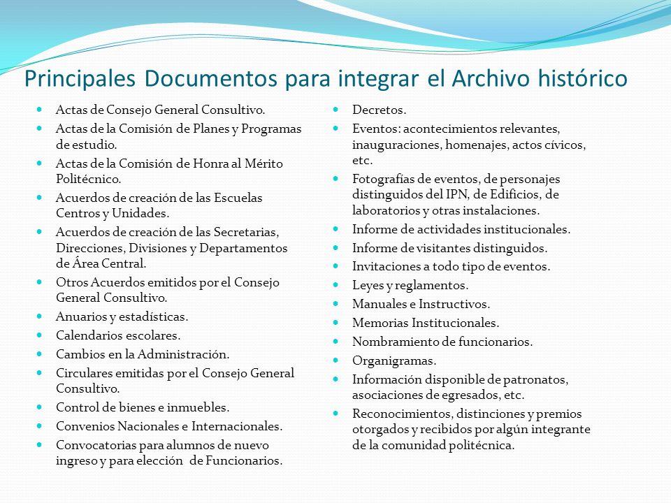 Principales Documentos para integrar el Archivo histórico Actas de Consejo General Consultivo. Actas de la Comisión de Planes y Programas de estudio.