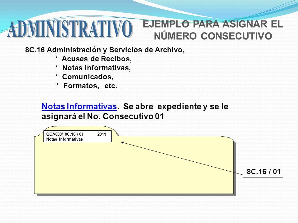 EJEMPLO PARA ASIGNAR EL NÚMERO CONSECUTIVO 8C.16 Administración y Servicios de Archivo, * Acuses de Recibos, * Notas Informativas, * Comunicados, * Fo