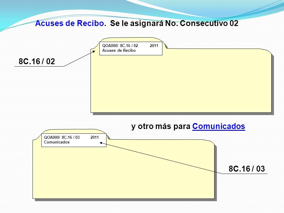 Acuses de Recibo. Se le asignará No. Consecutivo 02 QOA000/ 8C.16 / 02 2011 Acuses de Recibo y otro más para Comunicados QOA000/ 8C.16 / 03 2011 Comun