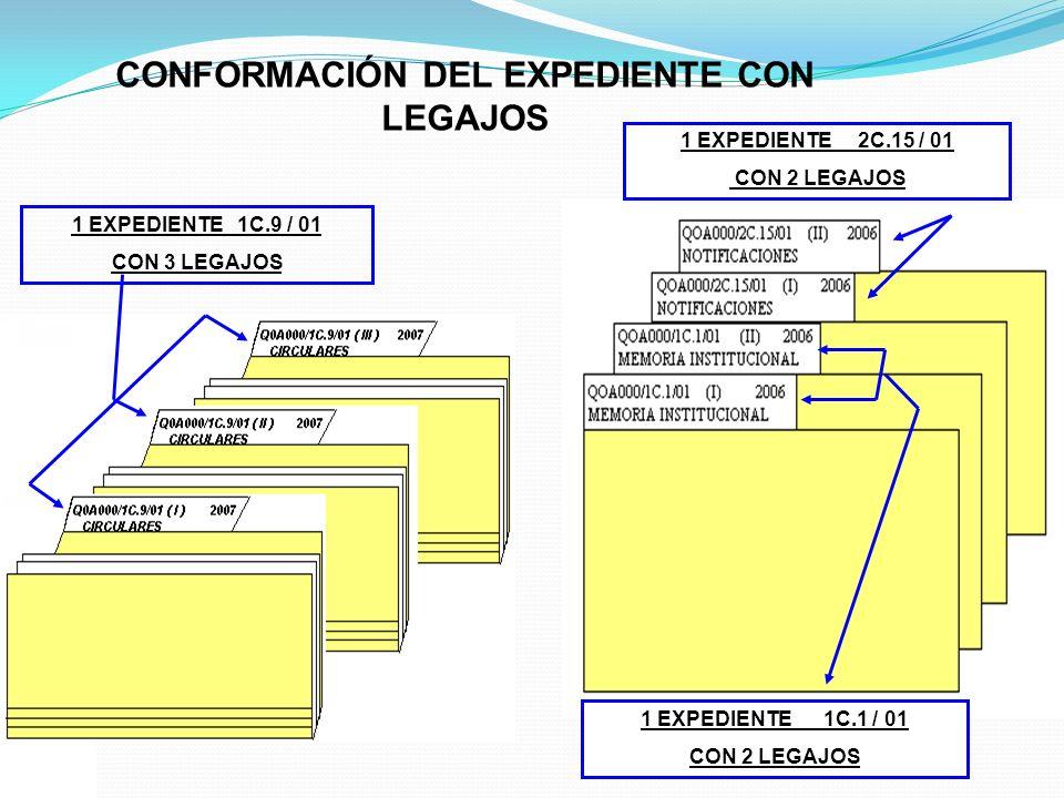 CONFORMACIÓN DEL EXPEDIENTE CON LEGAJOS 1 EXPEDIENTE 1C.9 / 01 CON 3 LEGAJOS 1 EXPEDIENTE 1C.1 / 01 CON 2 LEGAJOS 1 EXPEDIENTE 2C.15 / 01 CON 2 LEGAJO