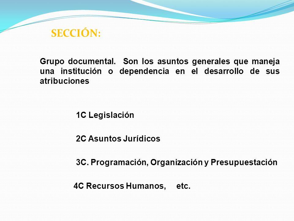 SECCIÓN: Grupo documental. Son los asuntos generales que maneja una institución o dependencia en el desarrollo de sus atribuciones 1C Legislación 2C A