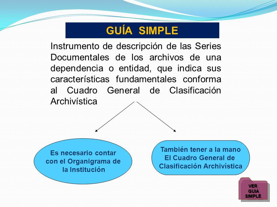 Es necesario contar con el Organigrama de la Institución También tener a la mano El Cuadro General de Clasificación Archivística Instrumento de descri