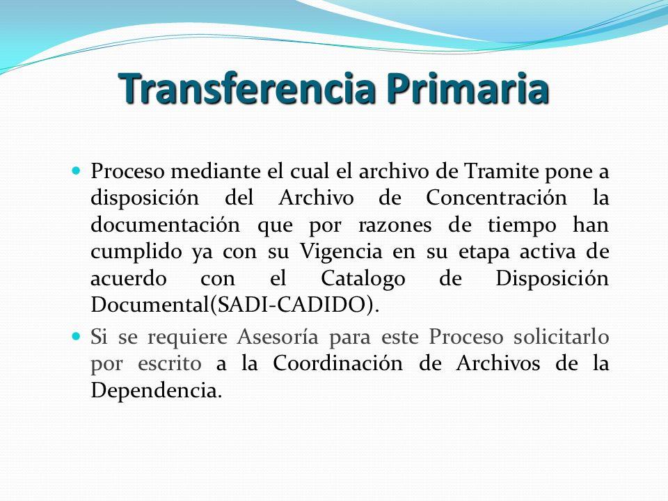 Transferencia Primaria Proceso mediante el cual el archivo de Tramite pone a disposición del Archivo de Concentración la documentación que por razones