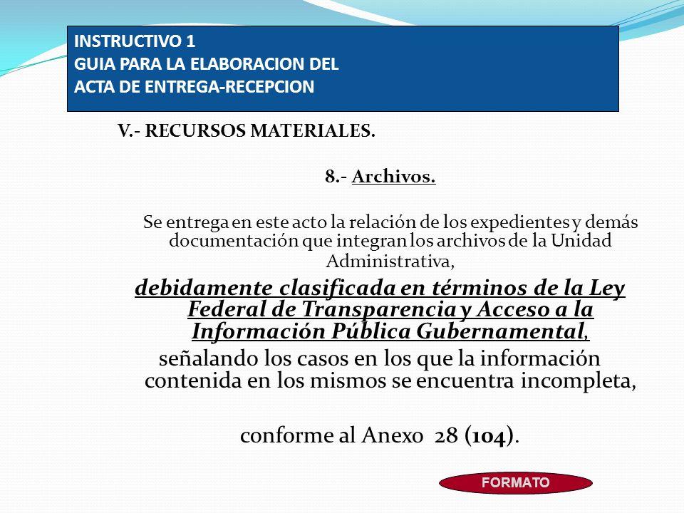 INSTRUCTIVO 1 GUIA PARA LA ELABORACION DEL ACTA DE ENTREGA-RECEPCION V.- RECURSOS MATERIALES. 8.- Archivos. Se entrega en este acto la relación de los