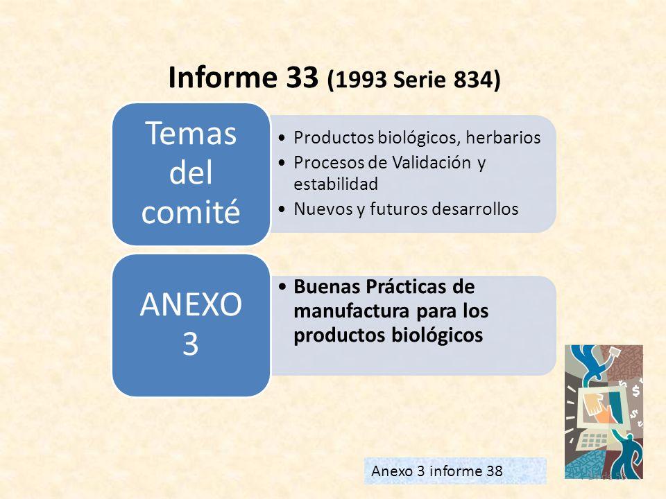 14 de 56 Informe 33 (1993 Serie 834) Anexo 3 informe 38 Productos biológicos, herbarios Procesos de Validación y estabilidad Nuevos y futuros desarrol