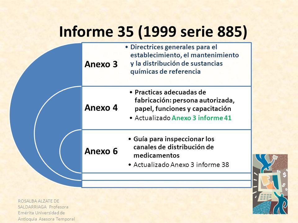 ROSALBA ALZATE DE SALDARRIAGA Profesora Emérita Universidad de Antioquia Asesora Temporal OPS 16 de 34 Informe 35 (1999 serie 885) Anexo 3 Anexo 4 Ane